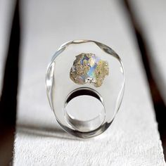 Clear Resin Ring with Australian Opal Resin Ring Resin