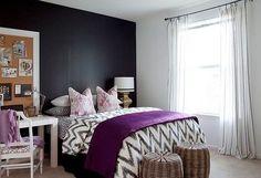 bedroom: purple and gray