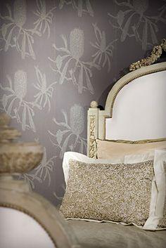 Fabulous wallpaper - Banksia in Charcoal & linen headboard//Porter's Paints