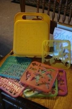 Vintage Tupperware Toy Stencil Art Set with Case. Aaaw remember the hundreds of hours we spent playing with these together. I MUCT get this for my children
