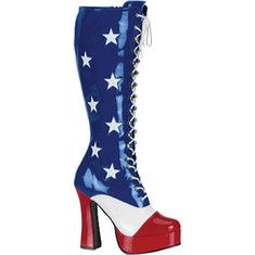 Show your patriotic side with these lace up American flag boots. They have a five inch heel and a side zipper.