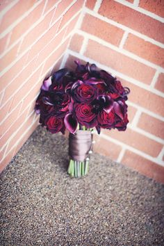 {Black Baccara Rose & Schwartzwalder deepest purple Calla Lillies Wedding Bouquet}