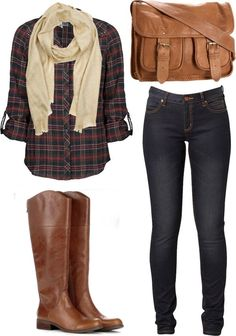 Casual Outfit Ideas for Women. Casual Plaid Outfit, plaid shirt, tan scalf, Skinnies and Brown Knee Boots. Fashion Moda, Look Fashion, Fashion Fall, Fashion 2014, Womens Fashion, Ladies Fashion, Country Fall Fashion, Trendy Fashion, Girl Fashion
