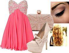 Pink white lace dress with beige handbag , beige heels ,wavy blonde hair and bronze eyemakeup via fashiondivadesign.com