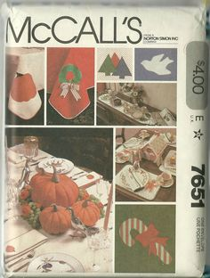 McCall's Sewing Pattern 7651 Holiday Decor Christmas Thanksgiving Halloween Used