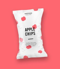 This is a very simple yet effective design for a bag of dried out apple chips. It works well to sell the product and the simplicity of the design helps to sell the simplicity of the apple chips.
