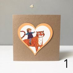 Tiger Who Came To Tea Greetings Card with Envelope Birthday Wedding Baby Shower Recycled Handmade Ca Snowman And The Snowdog, Room On The Broom, Heart Wall, Wooden Hearts, Book Pages, Wall Plaques, Shower Favors, Card Sizes, 2nd Birthday