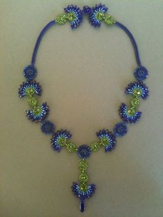 Necklace: Cobalt Blue Fans and Green Circles, Seed Bead Woven, Hand Made, One of a Kind, OOAK