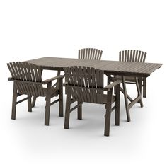 IKEA SUNDERO SET OF TABLE AND FOUR CHAIRS WITH ARMRESTS,PINE,GREY