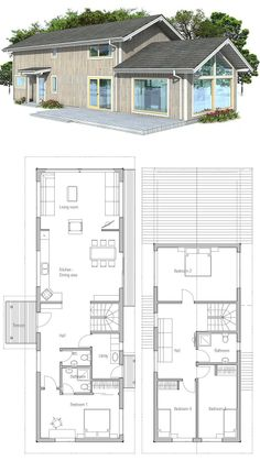 Narrow home with four bedrooms and vaulted ceiling in the living room.Floor Plan from ConceptHome.com