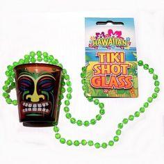 Tiki Plastic Shot Glass on Beaded Necklace