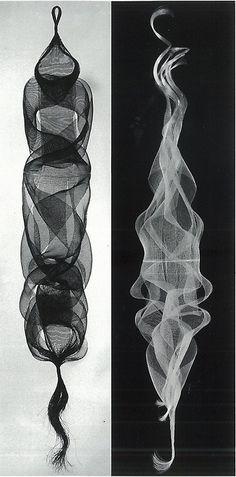 Kay Sekimachi, Amiyose (quadruple and tubular weave, nylon monofilament), 1965.