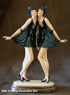 "Beautiful rare Art Deco figure by DAKON for Goldscheider, Austria c. 1920s depicting the ""Dolly sisters"". Goldscheider mark, Dakon, Austria."