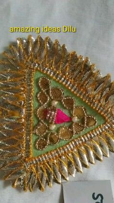 Zardozi Embroidery, Hand Embroidery, Embroidery Designs, Textiles, Fabric Patch, Border Design, Embellishments, Patches, Handmade Jewelry