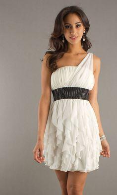 Embellished Waist Ruffled Skirt Short One Shoulder Empire White Prom Dress
