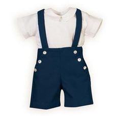 Navy Stripes and Dots Infant Boys' Suspendered Short Set