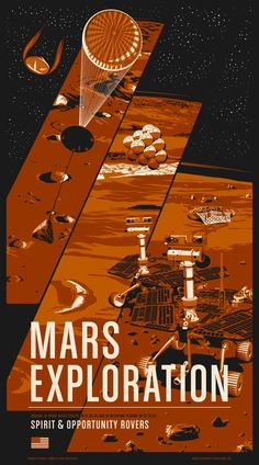 "The Mars Exploration Rovers known better as Spirit and Opportunity have been exploring the surface of Mars for over 10 years. Their discoveries are paving the way for science to definitively answer the question: is there now or has there ever been life on Mars? Available as a limited edition 20x36"" screen print or as archival digital prints at 17x22"" or 13x19""."