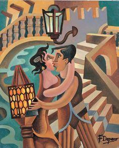 Fortunato Depero, Bacio a Venezia, olio su tela, 1906. Il dipinto futurista di Depero racconta la storia di una coppia di giovani che si baciano sotto un lampione probabilmente a Venezia. Un elogio alla città romantica, è alla scoperta dell'elettricità che permette di illuminare il paesaggio intorno ed essere riconoscibili anche di notte grazie alla luce dei lampioni elettrici.