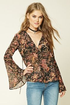 - A semi-sheer woven top featuring a ruffled split-neckline, a button-down front, long bell sleeves, and an allover floral paisley pattern. Trendy Fashion, Girl Fashion, Fashion Outfits, Womens Fashion, Bollywood Actress Hot Photos, Couture Tops, Online Dress Shopping, Fashion Prints, Fashion Boutique