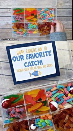 Father's Day Tackle Box Gift- cute dad gift idea using candy fish and worms! Easy fathers day gift from kids for a fisherman. Dad who fishes. Free printable tag to put on the tackle box. gifts for dad Father's Day Tackle Box Gift Diy Birthday Gifts For Dad, Diy Gifts For Dad, Best Dad Gifts, Dad Birthday, Birthday Candy, Daddy Gifts, Homemade Fathers Day Gifts, Cute Birthday Gift, Boss Gifts