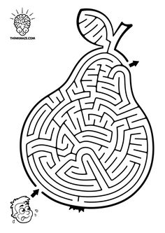 Preschool Worksheets, Maze, Pear, Kids Rugs, Printables, Black And White, Puzzles, Coloring, Number