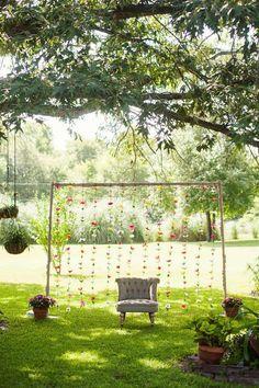 Photo Backdrop from a First Birthday Garden Party via Kara's Party Ideas…