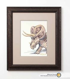 © by Kristen Girard A Triceratops horridus steps into the picture frame. Triceratops were three-horned herbivorous dinosaurs with a large frill. Limited Edition of excellently crafted reproductions. Dinosaur Kids Room, Dinosaur Gifts, Dinosaur Art, Visionary Art, Art Store, Limited Edition Prints, Thoughtful Gifts, Picture Frames, Paleo