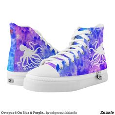 Shop Octopus 6 On Blue & Purple - High Top Sneakers created by inkgoeswildalaska. High Top Chucks, High Top Sneakers, Purple Sneakers, Sneakers Women, Nike Sneakers, Cute Emo Outfits, Teenager Outfits, Painted Shoes, Custom Sneakers