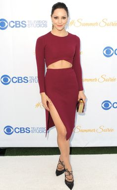 Katharine McPhee from The Best of the Red Carpet  Oh la la! The actress picks a sexy merlot RVN crop top set with a deep side slit for theCBS Television Studios' summer bash.