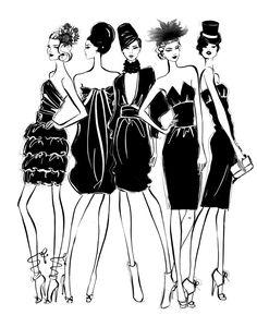 Black & white fashion illustration // Megan Hess