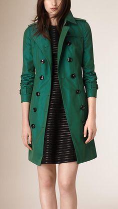 Verde mar Trench coat en algodón de gabardina Verde Mar - Imagen 2