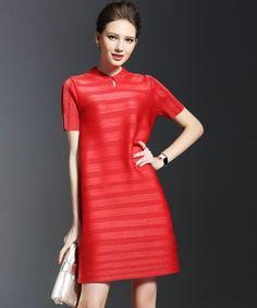 EC07950 Summer fold stripe retro short sleeve loose dress