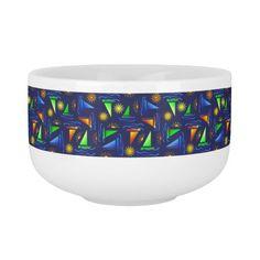 Colorful Sailboats & Suns on Navy Blue Soup Mug