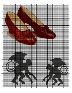 ruby shoes and flying monkeys Cross Stitch Patterns, Quilt Patterns, Blanket Patterns, Wizard Of Oz Shoes, Flying Monkey, Filet Crochet, Needlepoint, Sewing Projects, Quilts
