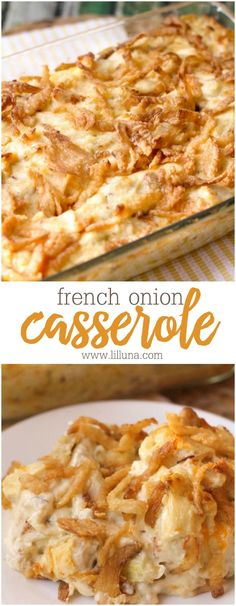 Just 10 minutes of prep time and you have a delicious creamy concoction of chicken, celery, and cheese topped with crispy fried onions! French Onion Chicken Casserole will become a new favorite dinner! #frenchonionchickencasserole #frenchonioncasserole #frenchonions #chickencasserole #chicken