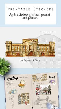 Printable London stickers for the travel journal. #printablestickers #londonstickers #englandclipart #digitalstickers #UKstickers