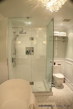 glass shower for small master bath Bathroom Renos, Bathroom Renovations, Bathroom Interior, Bathroom Ideas, Bath Ideas, Bathroom Designs, Small Master Bath, Master Bathroom, Downstairs Bathroom