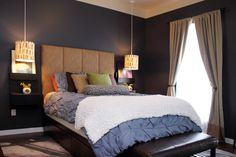 Dark bedroom via apartment therapy Dream Bedroom, Home Bedroom, Bedroom Decor, Master Bedroom, Loft House, Paint Colors For Home, Apartment Therapy, Apartment Ideas, Decoration