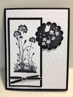 ... black scalloped circle embossed in white ... great card!! ... Stampin