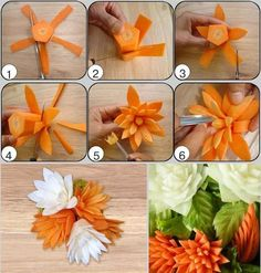 Stylish Board These Carrot Flowers will be a Perfect Garnish for Salads Given enough practice, I hope that even I can make a pretty flower out of yummy carrots for my bento. Create flowers from various vegetables. Heirloom Tomato Salad with Anchovy Vinai L'art Du Fruit, Deco Fruit, Fruit Art, Veggie Art, Fruit And Vegetable Carving, Fruit Decorations, Food Decoration, Carrot Flowers, Creative Food Art