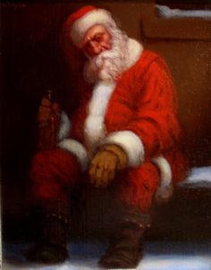 The Morning After is an original oil painting by Richard Lithgow portraying Santa Claus sitting in the snow during Christmas drinking alcohol.