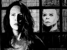 "HALLOWEEN RESURRECTION (2002) Graphite pencil drawing on wood. 45x60 cm / 18""x24""in  #movie #artwork #drawing #illustration #graphite #pencil #wood #halloween #johncarpenter #jamieleecurtis #michaelmyers #horror #horrorgallery #etsy"