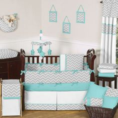 turquoise & grey chevron baby bedding If I ever have a boy!!! This would totally be the theme! I'm in love!