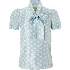 Paul Costelloe Polka dot shift blouse (84 AUD) ❤ liked on Polyvore featuring tops, blouses, shirts, blusa, blue, women, womentopsshirts & blouses, polka dot silk blouse, silk bow blouse and dot blouse