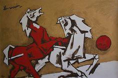 Maqbool Fida Husain - Two Horses @ Serigraphs III: M F Husain | StoryLTD.com I #Indianart #MFHusain #Modern art