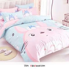 My neighbor Totoro - can't love this bed more, the pastel colors and Studio Ghibli character are so cute! Dream Rooms, Dream Bedroom, Girls Bedroom, Bedroom Decor, Pastel Room Decor, Cute Room Decor, Girl Decor, Bed Sets, Kawaii Bedroom