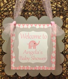 DOOR SIGN It's a Girl Baby Elephant Banner by EmeraldCityPaperie