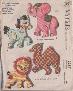 MOMSPatterns Vintage Sewing Patterns - McCall's 2257 Vintage 50's Sewing Pattern ADORABLE Large Stuffed Animal Toy Pillows, Horse, Elephant, Camel & Lion