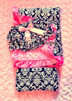 Damask and light pink satin minky dot blanket, travel wipe case, baby bloomers baby shower gift set/newborn/welcome baby/princess/photo prop on Etsy, $50.00