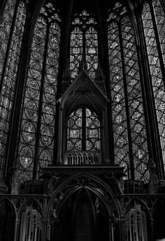 altar, black and white, church, dark, gothic, hd, monochrome, paris, stained glass, beautiful